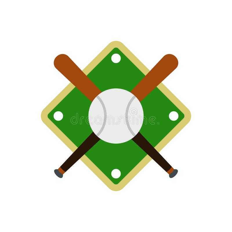 Bastões de beisebol e bola no ícone do campo de basebol ilustração royalty free