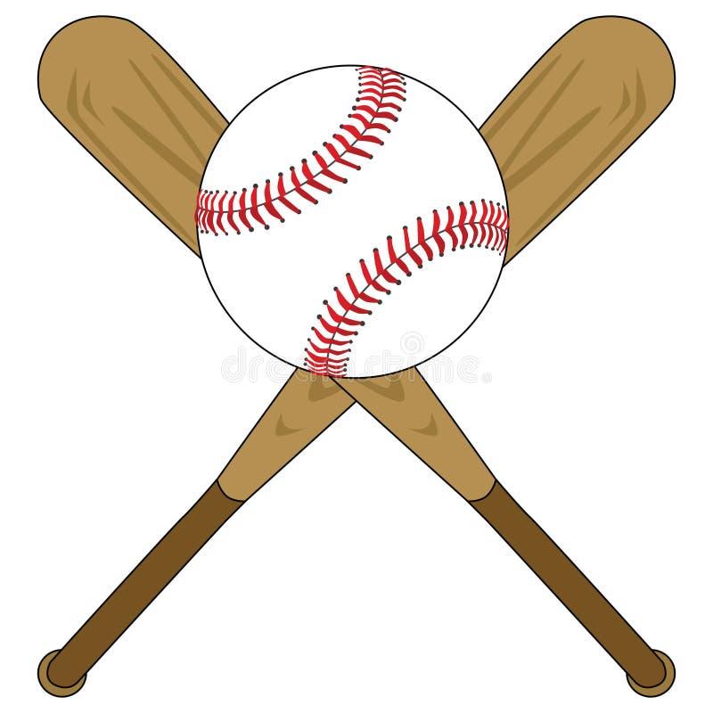 Bastões de beisebol e esfera ilustração royalty free