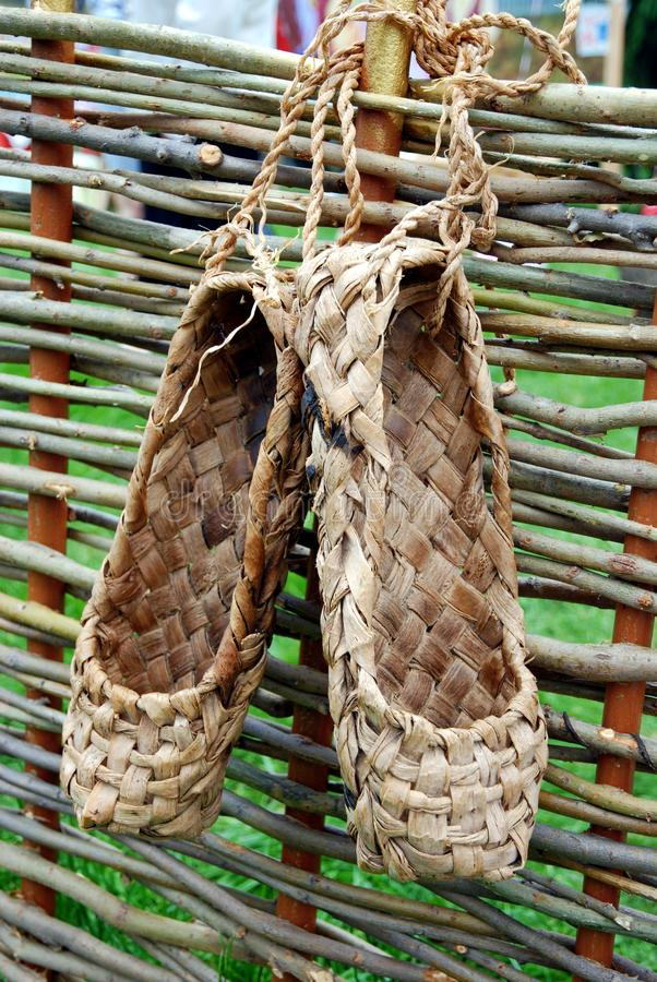 Download Bast shoe on the fence stock photo. Image of foot, culture - 18420562