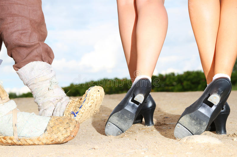 Bast vs. Tap Shoes royalty free stock image