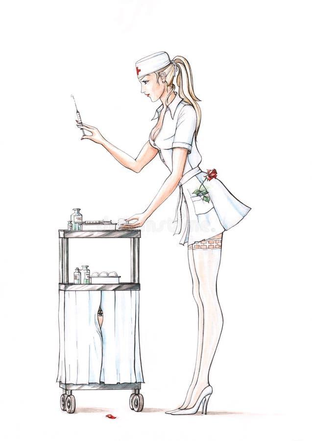 Bastante enfermera de los jóvenes ilustración del vector