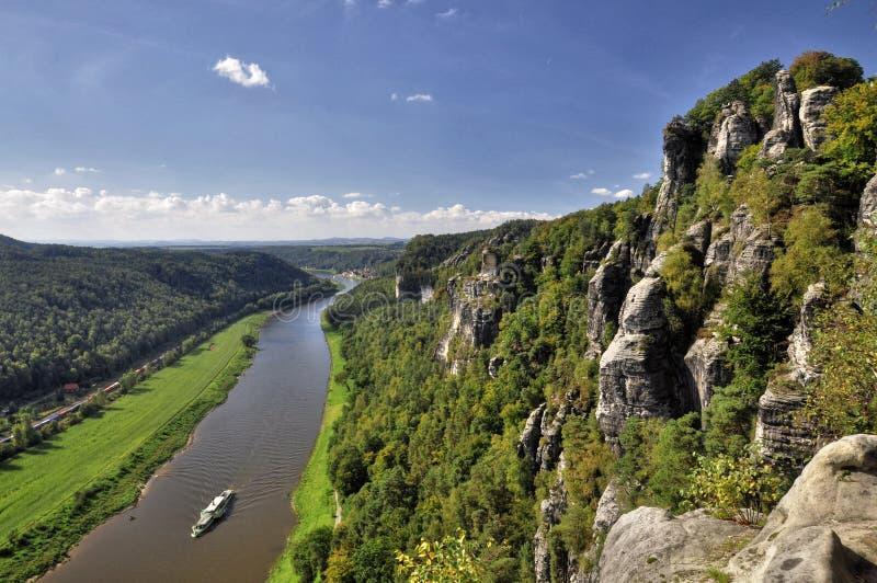 从Bastei的看法在河易北河 库存照片