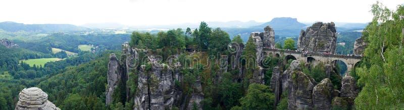 Basteipanorama in Rathen, Duitsland royalty-vrije stock afbeelding
