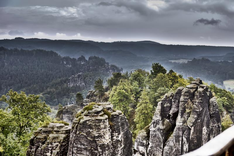 Basteirotsen in Saksisch Zwitserland, Duitsland, hdr effect stock foto's