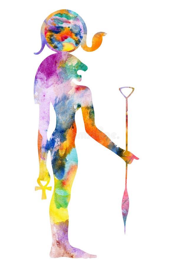 Bastet - God of Ancient Egypt. Bastet - Goddess of Ancient Egypt, Goddess of cats, protection, joy, dance, music, family, and love royalty free illustration