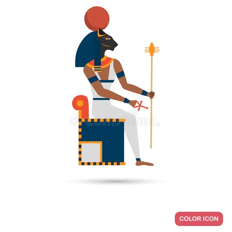Bastet goddess color flat icon for web and mobile design. Bastet goddess color flat icon for web and mobile royalty free illustration