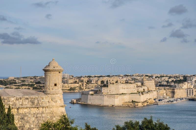 Bastião de Lascaris do forte em Valletta, Malta fotografia de stock