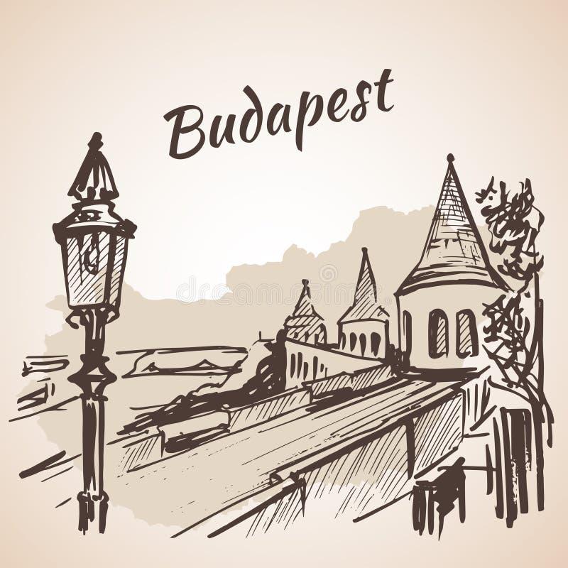 Bastión del pescador - Budapest, Hungría stock de ilustración