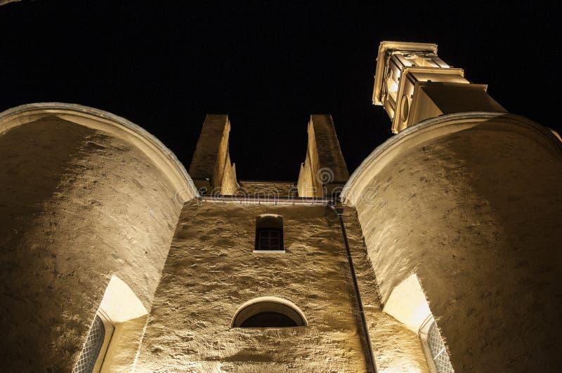 Bastia, Корсика, крышка Corse, горизонт, церковь, St. John баптист, старый, ноча стоковые фотографии rf
