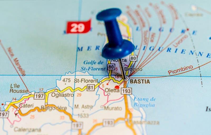 Bastia auf Karte stockbild