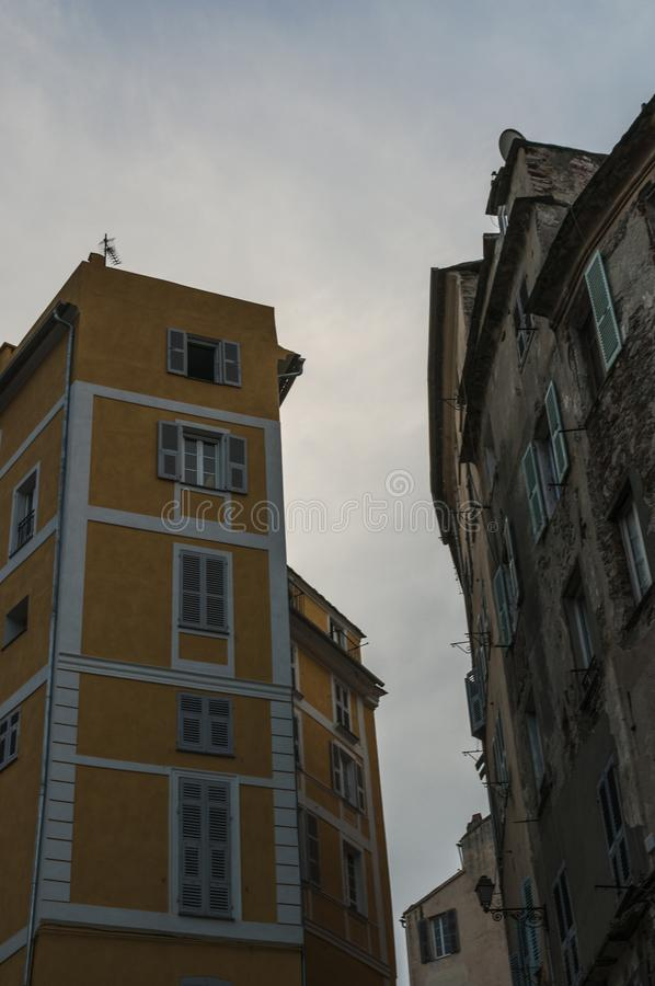 Bastia, Corsica, Cap Corse, skyline, alley, street, architecture, details, city life, daily life. Corsica, 03/09/2017: details in the streets and alleys of the royalty free stock photography