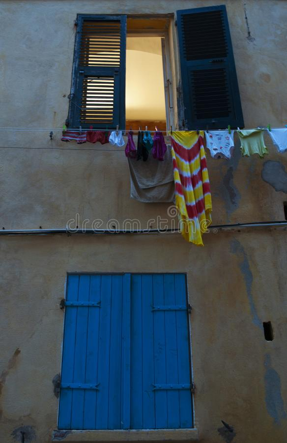 Bastia, Corsica, Cap Corse, skyline, alley, street, architecture, details, city life, daily life. Corsica, 03/09/2017: details in the streets and alleys of the stock photo