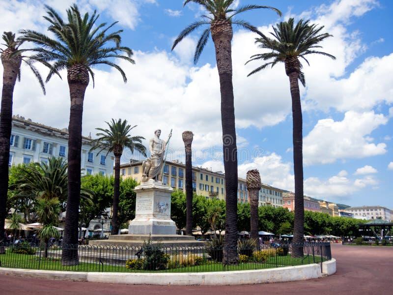 Bastia, Corsica. Statue of Napoleon in the Bastia, Corsica royalty free stock image