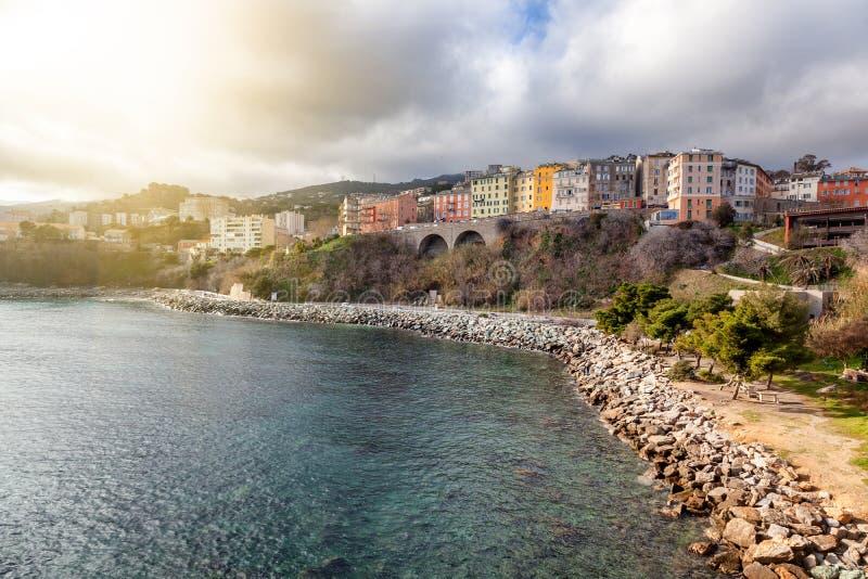 Bastia, la ciudad más grande y puerto en la isla de Córcega, Fran foto de archivo