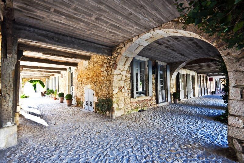 Bastide画廊建筑细节在Labastide d阿曼那白兰地 免版税图库摄影