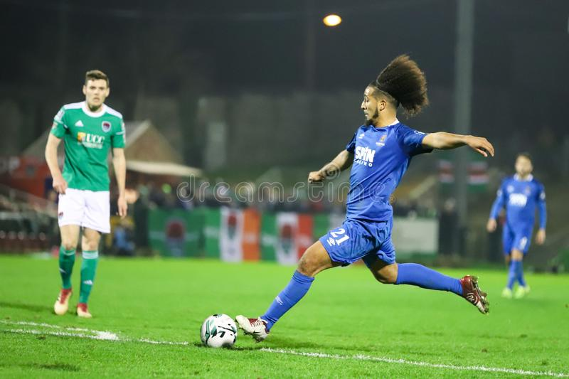 Bastien Hery during the Cork City FC vs Waterford FC match at Turners Cross for the League of Ireland Premier Division. February 22nd, 2019, Cork, Ireland royalty free stock photos