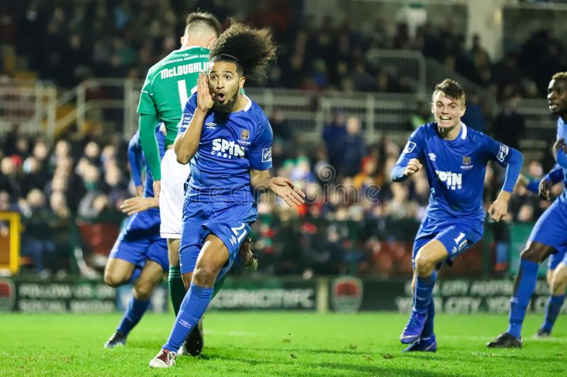 Bastien Hery during the Cork City FC vs Waterford FC match at Turners Cross for the League of Ireland Premier Division. February 22nd, 2019, Cork, Ireland stock photos