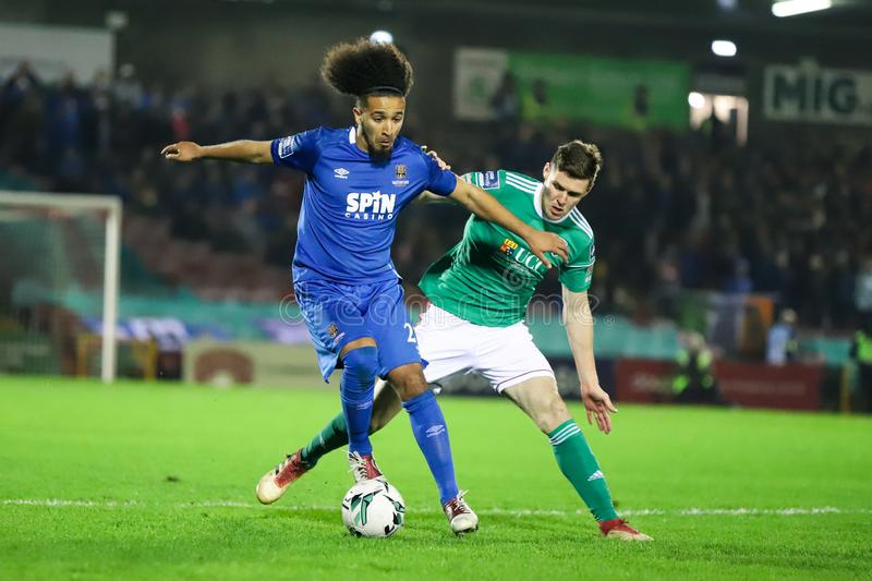 Bastien Hery during the Cork City FC vs Waterford FC match at Turners Cross for the League of Ireland Premier Division. February 22nd, 2019, Cork, Ireland stock photography