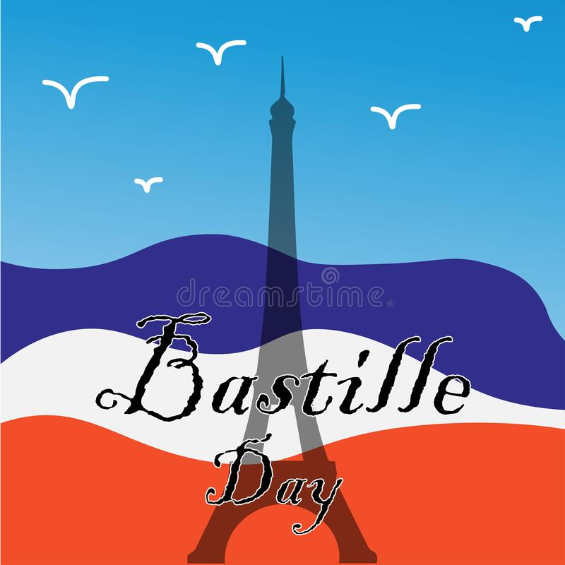 Bastille Day card. Vector card by day of the Bastille with the French flag and the Eiffel Tower royalty free illustration