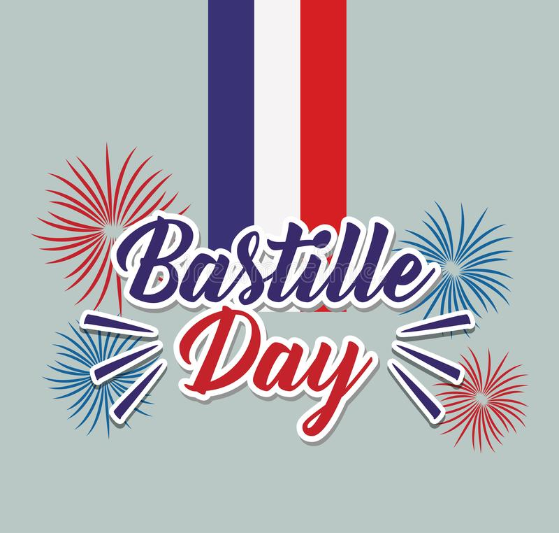 Bastille day celebration card with fireworks and flag royalty free illustration