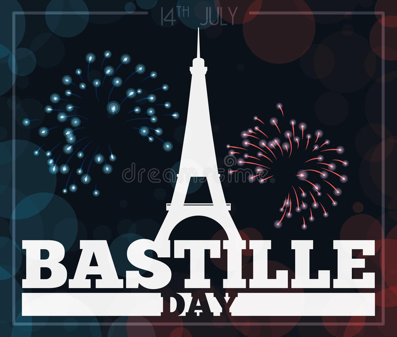 Bastille Day Celebration Postcard with Fireworks, Vector Illustration. Postcard with a view of night celebration of Bastille Day in France with fireworks and vector illustration