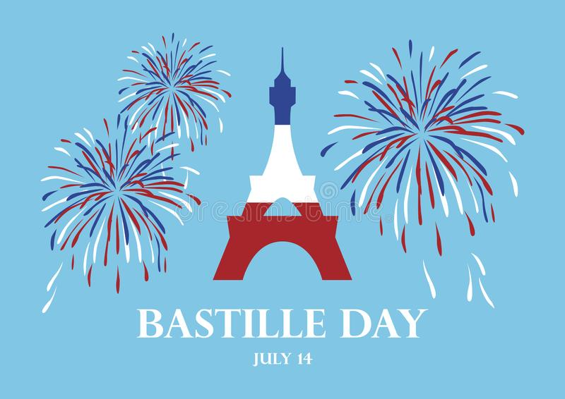 Bastille Day vector. Eiffel Tower with fireworks vector. Eiffel Tower in colors of French Flag vector. Bastille Day Poster, July 14. French national holiday stock illustration