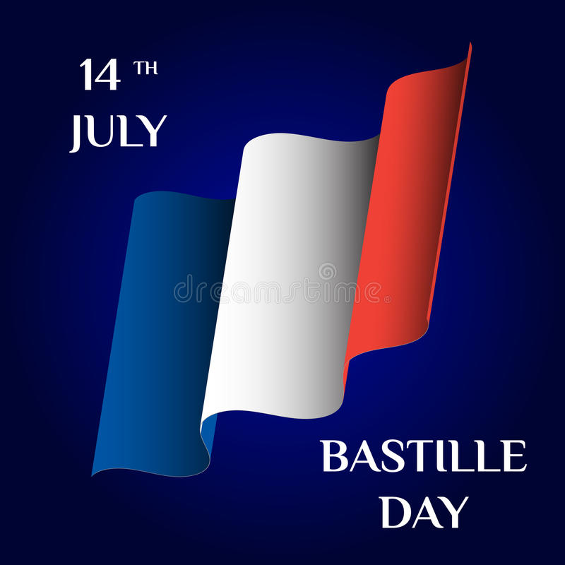 Bastille Day. Greeting card with the national flag of France. Vector template for your design vector illustration