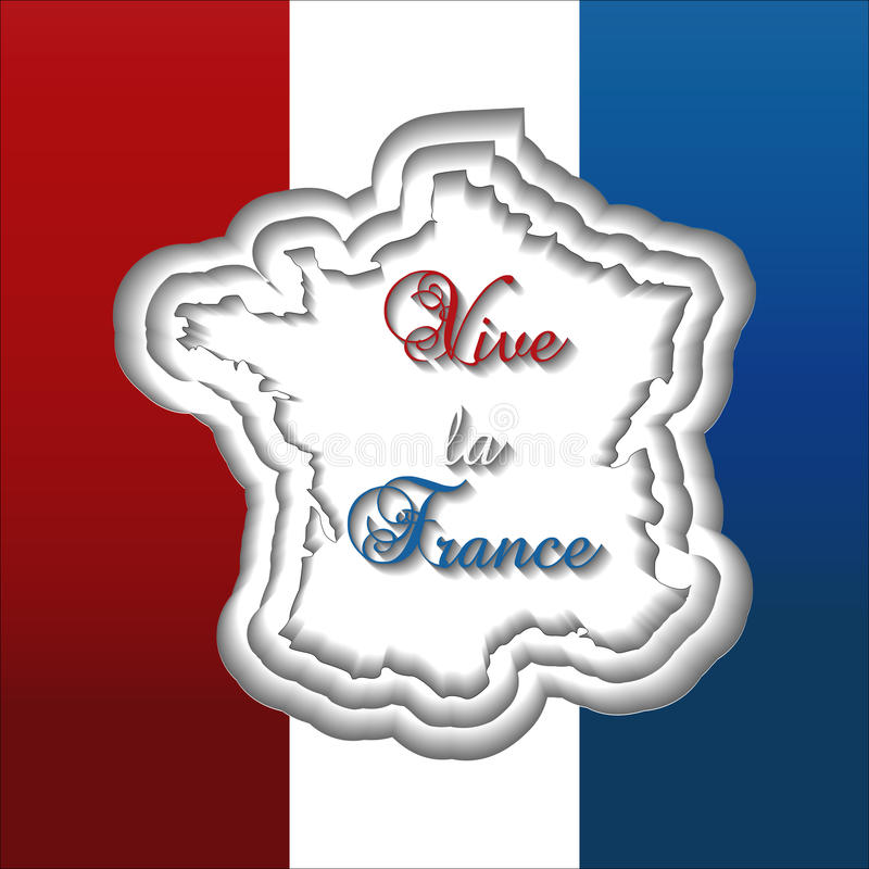 Bastille day greeting card template with flag background, paper cut style France map, and text Viva la France. vector illustration