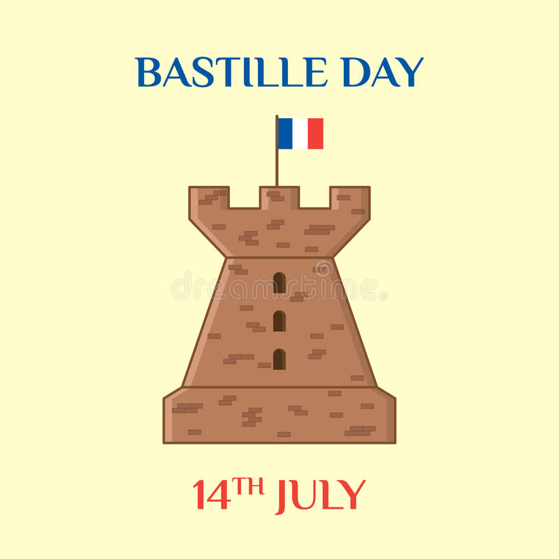Bastille Day. Greeting card with the tower of the fortress and the national flag of France. Vector template for your design royalty free illustration
