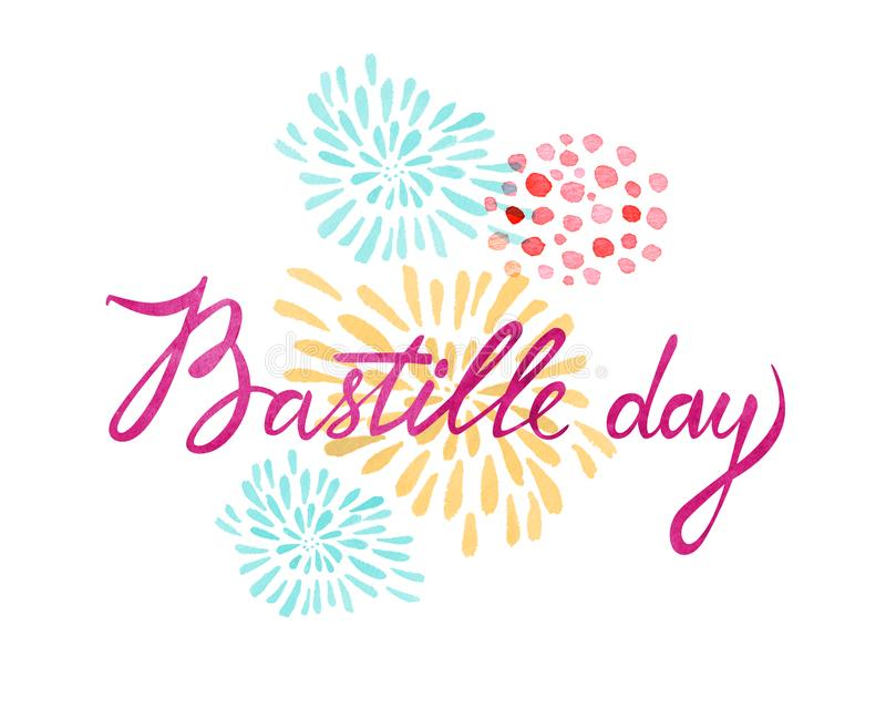 Bastille day greeting lettering design. Greeting card and poster design. Hand drawn watercolor illustration stock illustration