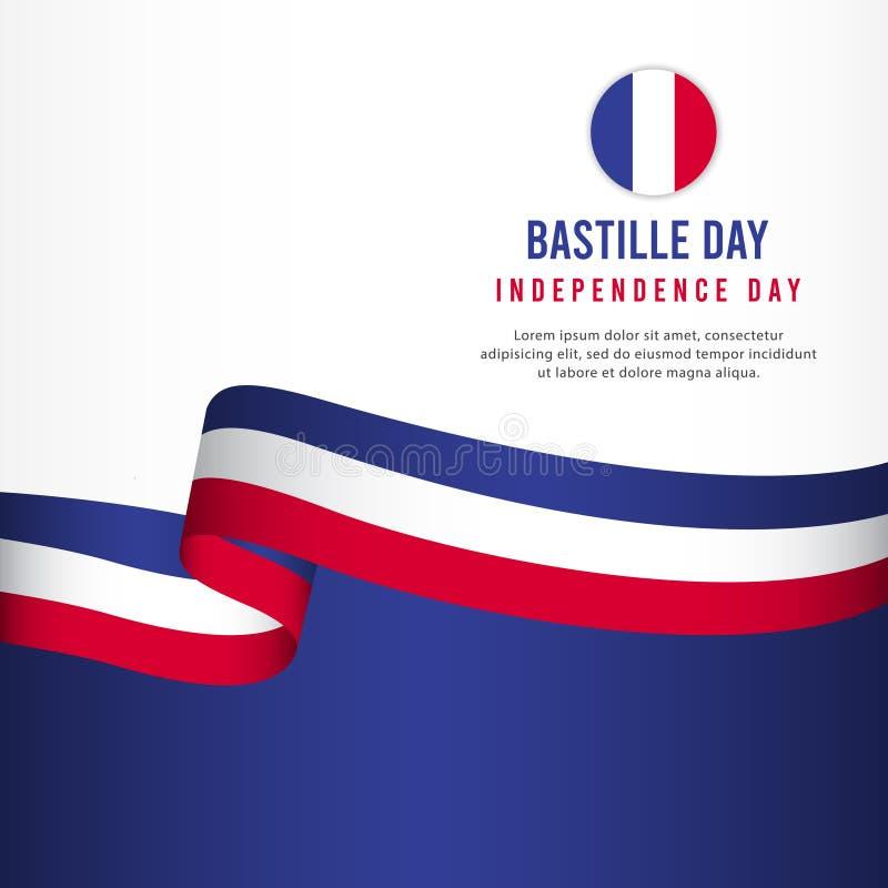 Bastille Day Independence Day Celebration, banner set Design Vector Template Illustration. French, july, france, happy, national, flag, card, paris, background royalty free illustration