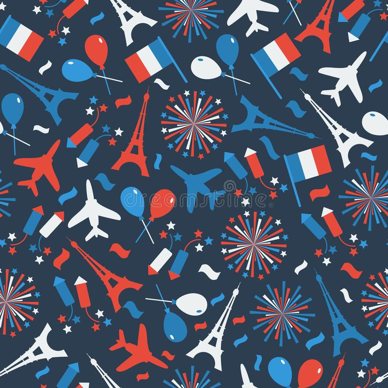 Bastille Day, Independence Day of France, symbols. Seamless pattern with symbol of celebration. Bastille Day, Independence Day of France, symbols. Seamless royalty free illustration