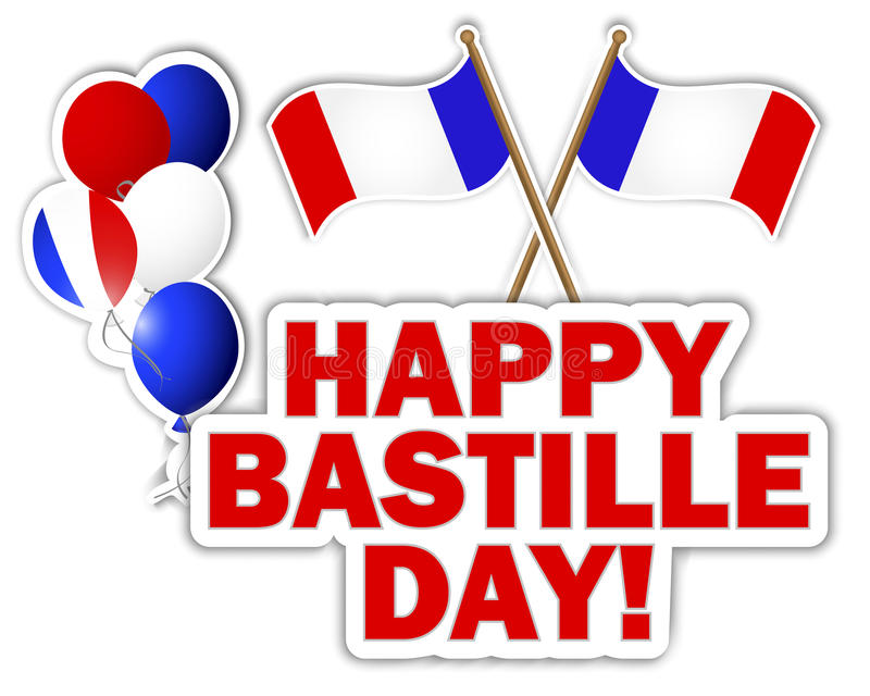 Bastille Day stickers. Bastille Day stickers with flags and balloons. Vector illustration vector illustration