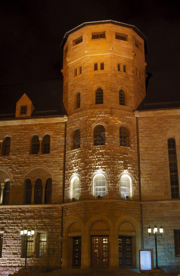 Bastille del castello degli imperatori entro la notte a Poznan fotografie stock