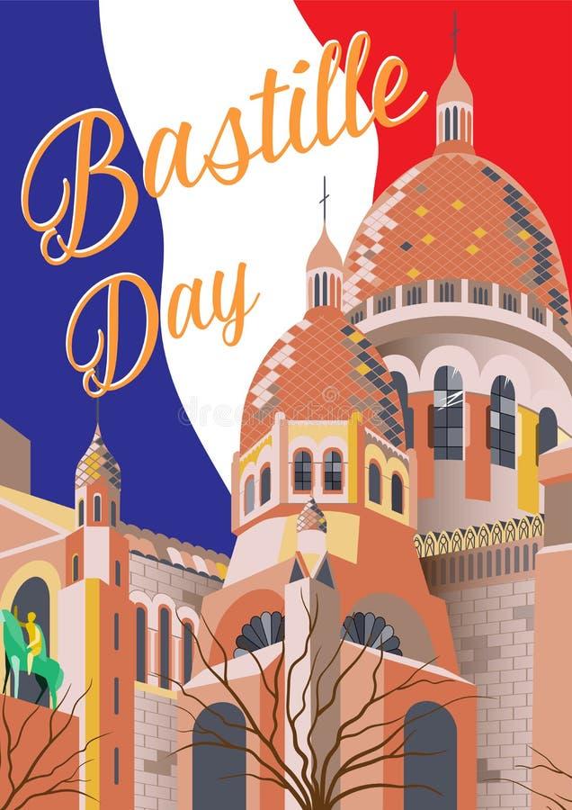 Bastille dnia plakat Wektorowa ręka rysująca ilustracja Paris sacre coeur France ilustracja wektor