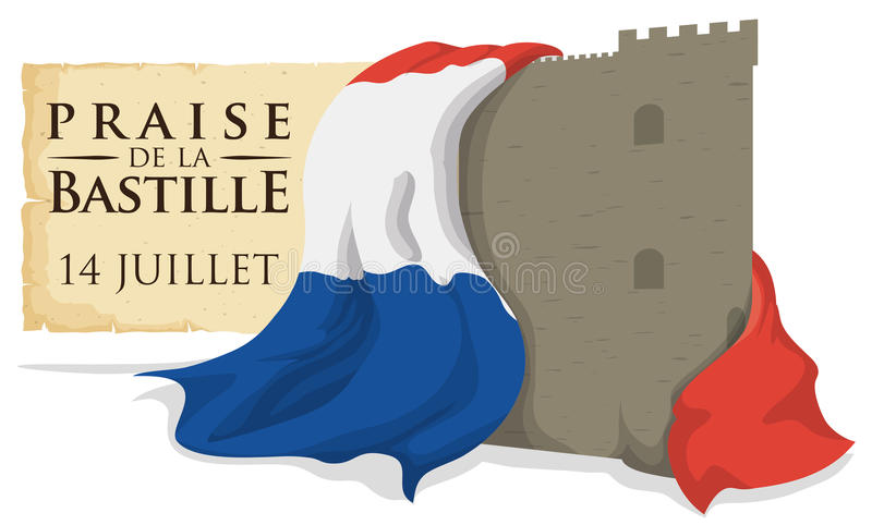 Bastille Fortress with France Flag and Scroll Remembering the Storming, Vector Illustration. Bastille fortress wrapped with France flag and a scroll reminder at stock illustration