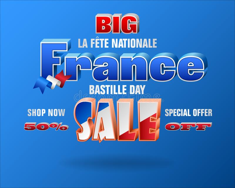 Bastilletag, Nationalfeiertag von Frankreich, Verkäufe vektor abbildung