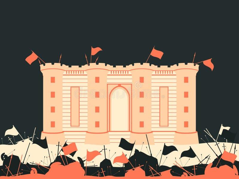 Bastillevesting De slag voor het kasteel Middeleeuws slagveld Vlaggen, zwaarden, spears en pijlen Vector stock illustratie