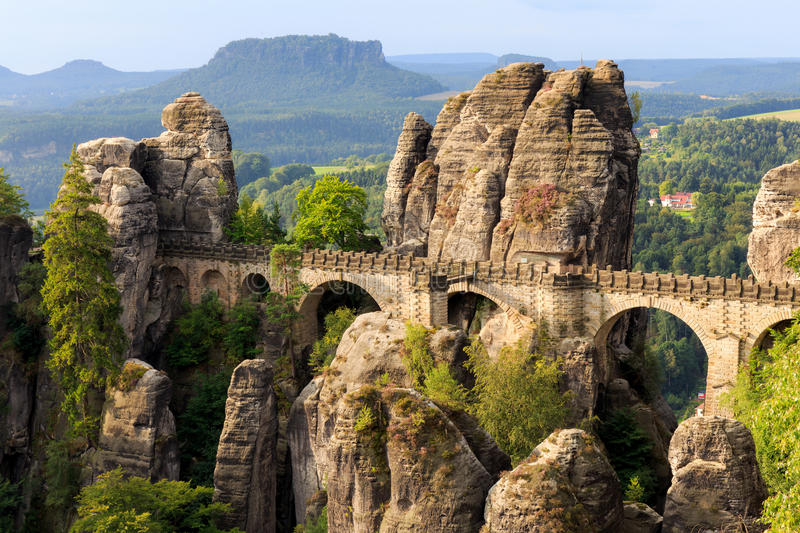 Bastion Bridge in Saxonia near Dresden royalty free stock image