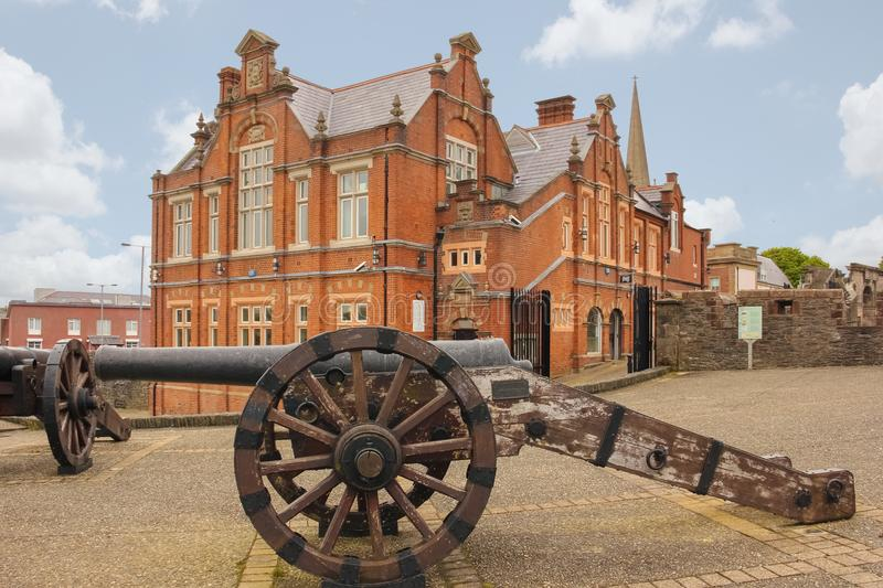 Bastion and city walls. Derry Londonderry. Northern Ireland. United Kingdom. Bastion, cannons and city walls. Derry Londonderry. Northern Ireland. United Kingdom royalty free stock image