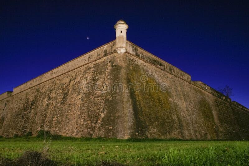 Bastion d'Olivenza au crépuscule, Espagne image libre de droits