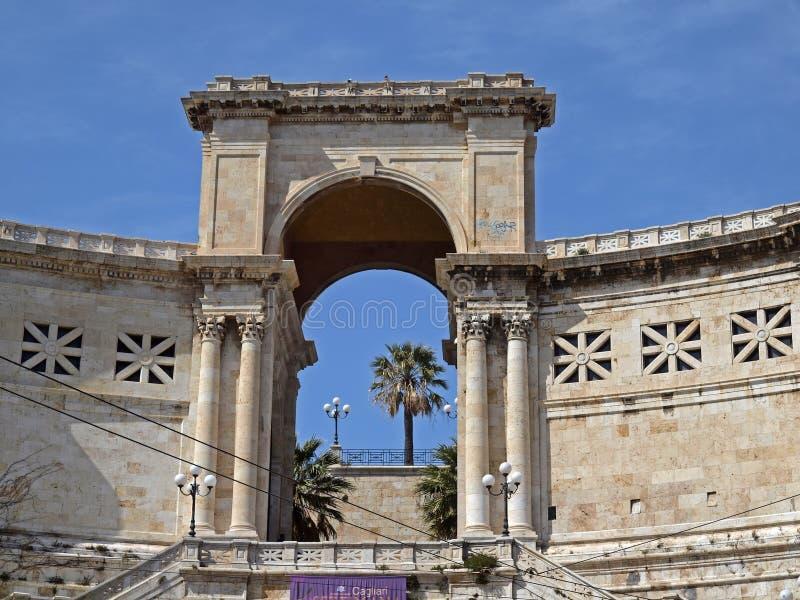 Bastion des Heiligen Remy, Cagliari, Sardinien, Italien lizenzfreies stockbild