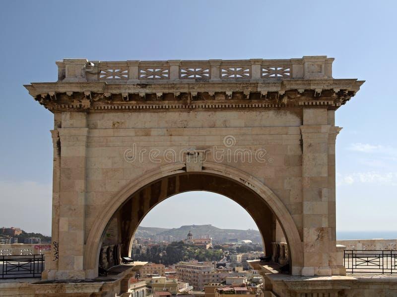 Bastion des Heiligen Remy, Cagliari, Sardinien, Italien lizenzfreie stockfotos