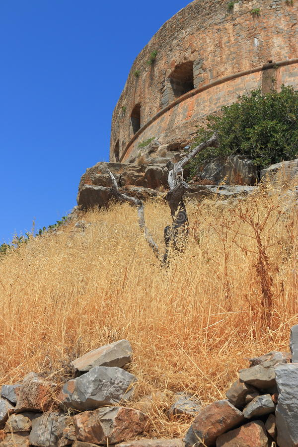 Bastion. Element of old Genoese fortress on the island of Spinalonga. Crete, Greece stock photo