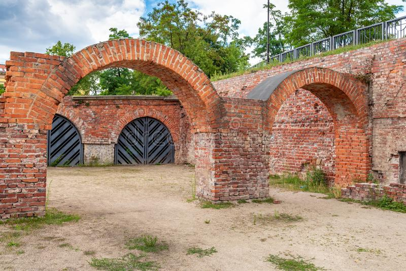 Bastion för tegelsten för Wroclaw tegelstenbastion arkivfoto