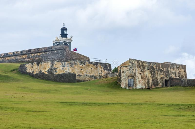 Bastion Lighthouse and Walls of El Morro. Historic el morro fortress lighthouse bastion and walls in old san juan puerto rico stock photos