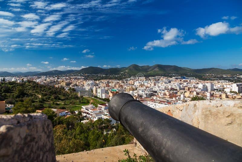 Bastion St James jest częścią warowny średniowieczny miasto Dalt Vila, Ibiza, Hiszpania zdjęcia stock