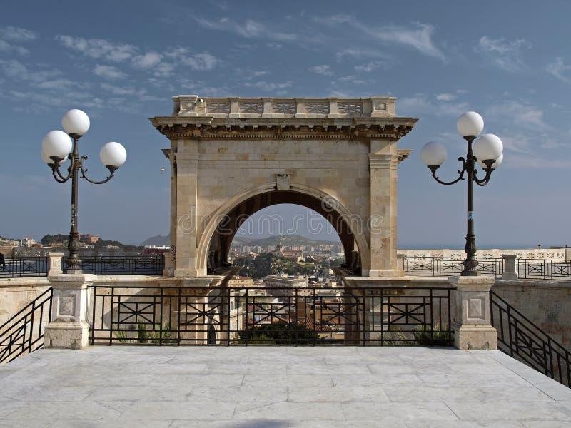 Bastion van Heilige Remy, Cagliari, Sardinige, Italië stock foto's