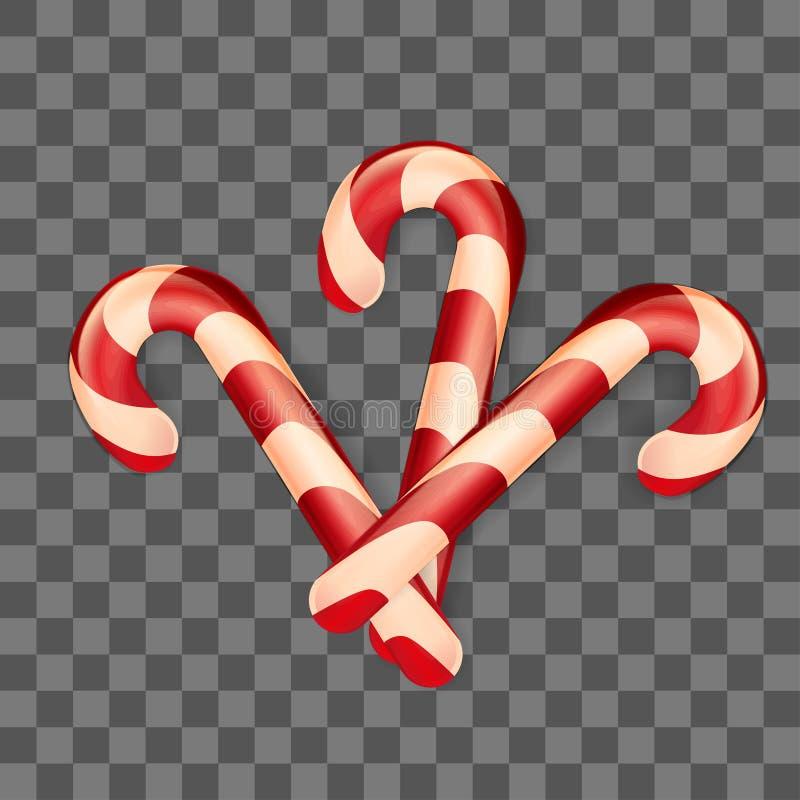 Bastoncini di zucchero di Natale su fondo trasparente Illustrazione di vettore di inverno Decorazione per progettazione della car illustrazione di stock