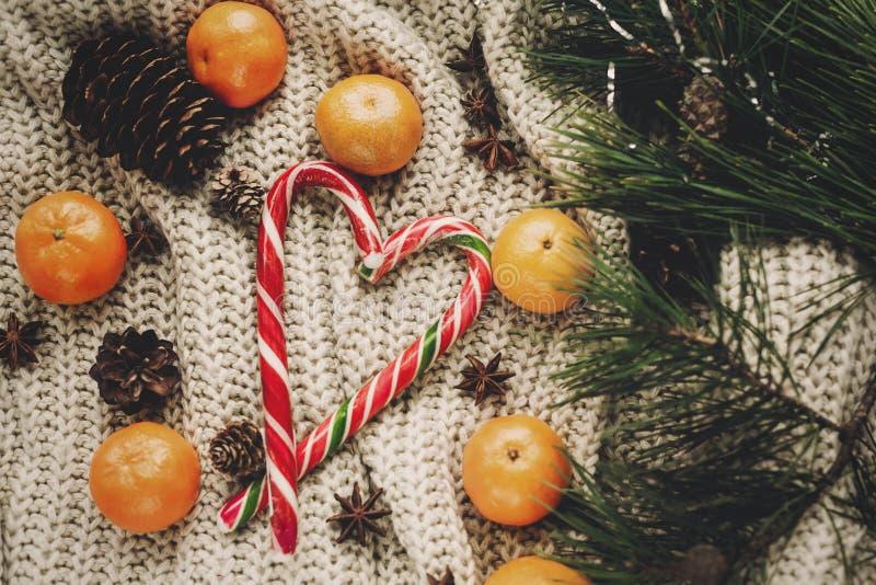 Bastoncino di zucchero alla moda della menta piperita in cuore e mandarino delle pigne immagine stock libera da diritti